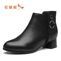 【红蜻蜓领�涣⒓�150】红蜻蜓妈妈棉鞋女冬季加绒保暖短靴防滑女鞋舒适女士棉靴