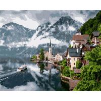数字油画风景画4050速卖通 375欧式小镇 无内框40x50CM