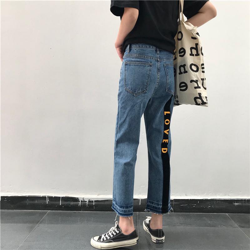 宽松牛仔裤女学生韩版学院风春装新款撞色九分裤潮ulzzang直筒裤 发货周期:一般在付款后2-90天左右发货,具体发货时间请以与客服协商的时间为准