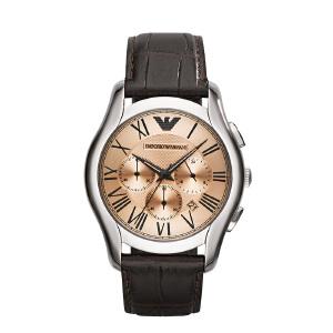 Armani阿玛尼深棕色古典男款手表 皮革带运动商务风石英表AR1785