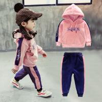女宝宝秋冬装套装3潮4岁女童洋气金丝绒卫衣两件套2小童衣服加绒1巴拉