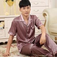 男士睡衣夏季薄款冰丝男式 短袖中年爸爸款纯棉男装仿真丝绸夏天