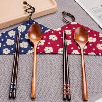 【满减】欧润哲 两色各1套 情侣组日式便携原木筷勺 便携旅行野餐餐具出外组合套装