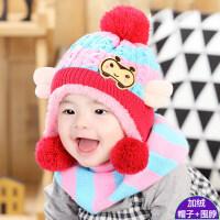 宝宝帽子秋冬1-2岁男女儿童加厚毛线围巾保暖婴儿帽加绒6-12个月 建议6-30个月