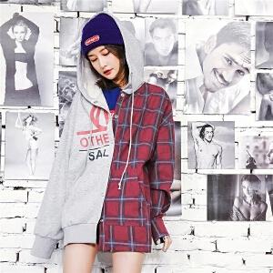 七格格连帽卫衣秋装女2018新款韩版外套中长款宽松格子拼接长袖学生运动