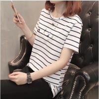 【支持礼品卡支付】短袖t恤女宽松韩版学生上衣服夏装2018新款条纹小衫女 17RHW