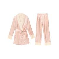 睡衣女冬加绒加厚长袖系带两件套丝质修身保暖家居服套装女秋冬