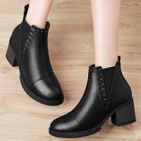古奇天伦圆头套筒女靴子纯色粗跟女短靴防水台女鞋子GQ8540