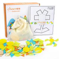 橙爱 创意几何拼板木制七巧板拼图 儿童早教益智玩具男女孩礼物