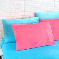 法莱绒枕套珊瑚绒枕套法兰绒枕芯套一对装枕头套单人48*74cm双人枕 48cmX74cm