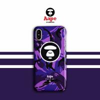 紫APE猿人iPhoneX Max手机壳苹果7/8plus磨砂6s全包硬壳男女 小6/6s 紫迷彩猿人