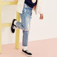 【2件3折到手价:67.5】美特斯邦威旗下Moomoo童装女童牛仔裤春季新款中大童长裤