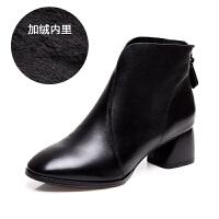 2018新款女靴春秋季小短靴粗跟中跟真皮鞋秋款矮靴小跟网红马丁靴SN8708