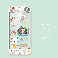 苹果6s钢化膜6plus手机膜全屏覆盖7卡通贴膜iphone6splus彩膜4.7 6plus 5.5 情侣猫
