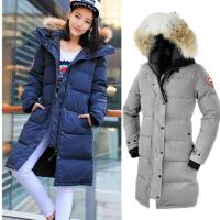 冬季户外加拿大风情加厚保暖时尚修身鹅羽绒服女外套防风防水大码 X
