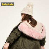 【3件3折价:137.7】巴拉巴拉儿童棉衣宝宝棉袄秋冬新款女童保暖加厚毛领棉服外套