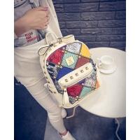 双肩包女包夏新款韩版时尚潮包PU皮铆钉背包休闲撞色拼接书包