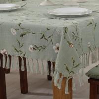 桌布布艺田园棉麻欧美式餐桌椅垫套装订做圆长方形茶几台布 绿色