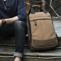 男士帆布包手提包大容量双肩包户外背包 学生书包旅行电脑包男包