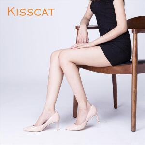 接吻猫2017春新光面漆皮性感尖头高跟鞋DA87193-10