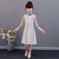 儿童旗袍中袖短款女童奥黛连衣裙中国风改良唐装