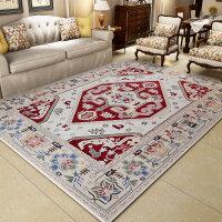 复古客厅地毯卧室大美式茶几毯布艺沙发地毯吸尘混纺 美式乡村 红色