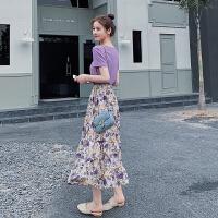 安妮纯很仙的两件套洋气网红2020新款减龄抹茶绿半身裙法国小众套装女夏