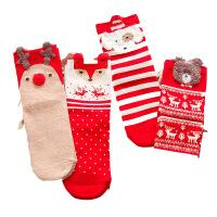 2018秋冬款大红卡通圣诞袜女士中筒袜 个性提花中腰棉袜 四色混装 均码