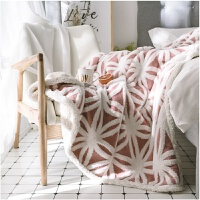 秋冬绒毯双层毛毯加厚羊羔绒沙发毯北欧提花盖毯法兰绒毯子 160*210cm 3.6斤