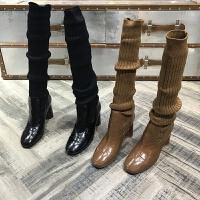 弹力布靴子女2018秋冬新款女鞋粗跟高跟弹力长筒针织布洋气靴子 TBP