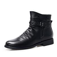英伦男士商务正装皮靴潮流时尚高帮皮鞋秋冬尖头韩版搭扣男短靴子 黑色