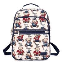 2018新款小熊双肩包14寸电脑背包女帆布大高中学生书包维尼旅行包SN4919 蓝色(可装A4杂志)