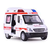 仿真合金车模玩具 特警回力声光警车 救护车儿童金属汽车玩具