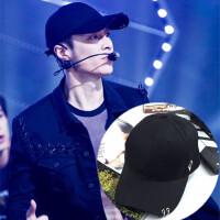 2018年新款EXO-MLAY机场同款黑色帽子单个金属圆环鸭舌帽弯檐棒球帽夏 可调节(55-60cm)
