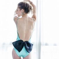 欧美高端个性露背蝴蝶结三角连体泳衣比基尼温泉女 图片色