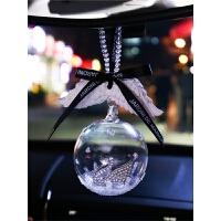汽车挂件车内天鹅水晶球车载天使翅膀吊饰品女后视镜吊坠个性创意