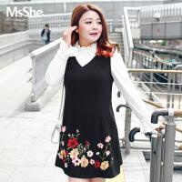 MSSHE加大码女装2017新款秋装拼接假两件刺绣连衣裙m1740149