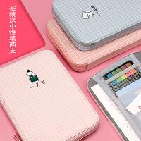 韩国帆布笔袋简约铅笔盒女ipad包手账工具包大容量多功能文具盒