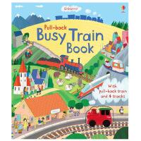 【正版】Busy Train 繁忙的火车 Pull-Back手动回拉玩具书 英文原版儿童互动趣味