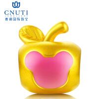 CNUTI粤通国际珠宝 黄金转运珠 3D硬金足金手链串珠转运珠 黄金小苹果 吉祥如意 约1.1g
