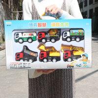 儿童惯性工程车套装搅拌车吊车水泥车男孩宝宝玩具迷你小汽车模型