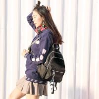 双肩包女韩版新款百搭牛津布英伦帆布背包防水旅行学生书包潮 黑色
