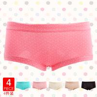 性感可爱少女波点圆点糖果色中腰三角内裤 精美礼盒装四条内裤