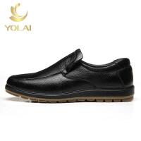 男鞋男士皮鞋中老年爸爸商务休闲头层牛皮套脚软底耐磨牛筋底