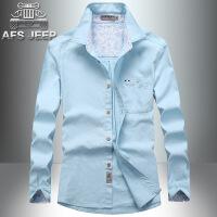 AFS JEEP长袖衬衫男战地吉普男装衬衫大码休闲纯色长袖衬衫63118
