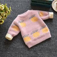 女童秋冬装毛衣儿童针织衫加绒加厚洋气上衣女宝宝打底衫 菠萝毛衣 加绒 粉色