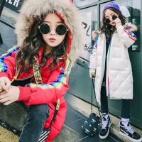 儿童棉衣2017冬装新款韩版童装女童棉衣中长款中大童加厚棉衣外套  AD彩虹条棉衣