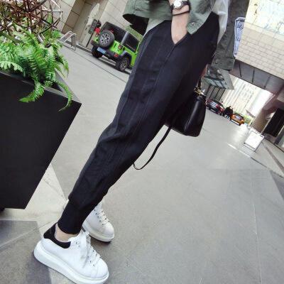 韩国休闲卫裤女冬季韩版宽松显瘦运动长裤小脚收口加绒加厚哈伦裤 发货周期:一般在付款后2-90天左右发货,具体发货时间请以与客服协商的时间为准