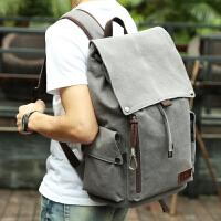 韩版男士背包休闲双肩包男 复古帆布包男包旅行包学生书包电脑包