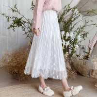 小蝴蝶白色蕾�z半身裙女2020秋季新款中�L款�@瘦高腰垂��感�L裙子